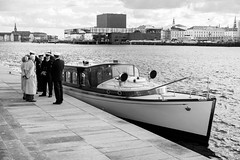 Copenhagen: The Royal Launch (romanboed) Tags: travel europe denmark copenhagen scandinavia sea boat vessel royal launch ship water taxi navy officers m 240 summilux 50 operaen opera house afternoon sunny cloudy leica black white bw