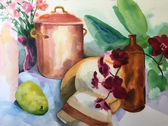 Simmer (Handwork Naturals) Tags: catskills hudsonvalley dailypainting watercolor flowers bottle orchid pear pot copper