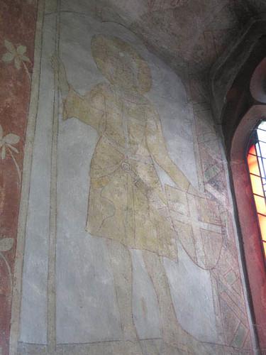 chevalier avec une lance figurant probablement Saint-Georges