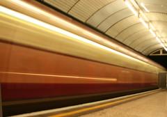 Jubilee Line Arriving at Baker Street (2.5 seconds) (Bill in DC) Tags: london underground metro tube 2006 bakerstreet jubileeline eos5d