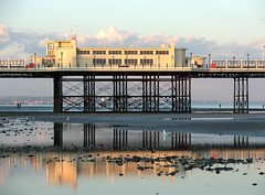 8:30 by the pier clock - Worthing (vintage 1953 & wackymoomin) Tags: england beach sussex evening pier worthing fuji artdeco s5500 diamondclassphotographer
