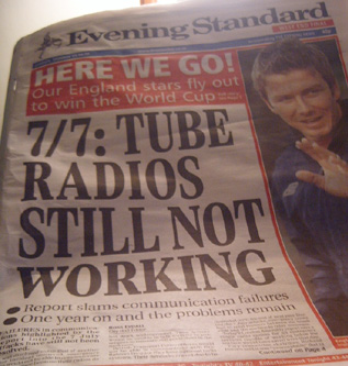 Tube Radios Still Not Working - Evening Standard - 5th June 2006