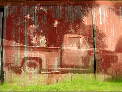 Pick-up sticks (Linda's Many Muses) Tags: wood red barn rural truck vintage south manymuses pickuptruck canon350d photomontage americana weathered layers pickupsticks photoillustration wwwmanymusescom utatathursdaywalk09 100photography