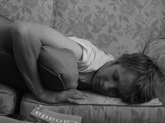 snoozin (qmnonic) Tags: family blackandwhite bw sleep couch sofa snooze gord