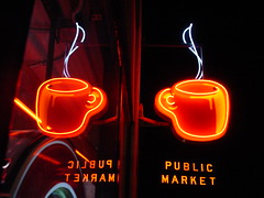Double espresso (AnnabelB) Tags: 2005 seattle light red usa cup public coffee night washington neon place market double best steam espresso pike pikeplace westcoast saucer ort seattlesbest makemineadouble