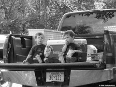 Twin Boys in a Pickup Bed