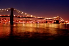 3 bridges (Farl) Tags: nyc longexposure travel bridge sky usa ny newyork colors brooklyn night lights us manhattan bridges wideangle southstreetseaport manhattanbridge eastriver williamsburgbridge phototip bluelist