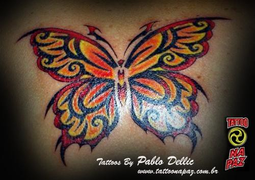 Ankle Butterfly Tattoos butterfly tattoo with full color by pablo