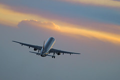 Airplane taking off in the sunet (Greg Bajor) Tags: uk greatbritain travel light sunset england sky orange sun holiday london art silhouette yellow clouds speed plane out airplane outdoors for evening fly flying moving airport wings movement twilight moody with bright unitedkingdom dusk heathrow background aircraft altitude aviation air united great transport flight wing jet engine dramatic kingdom gear move off aeroplane climbing international journey commercial depart transportation airline airbus take vehicle romantic concept arrival airways conceptual gregory airlines departure takeoff atmospheric connection airliner lhr aerospace flaps ligh rotate birdlike movingup egll bajor aviationart wingslet