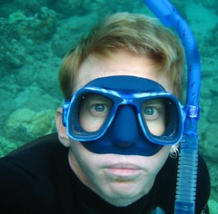 20 feet down and clowning (bluewavechris) Tags: blue portrait selfportrait water face hawaii eyes underwater snorkel mask maui reef wetsuit