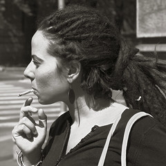 Smoking girl (Amodiovalerio Verde) Tags: bw dreadlocks drum sister cigarette milano profile smoking rasta rizla sigaretta addatag sorella profilo addanote
