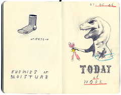 Inappropriate Behaviour In The Workplace (David Fullarton) Tags: art moleskine work sock dinosaur drawing humor comfort moisture