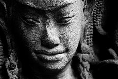 smile (Farl) Tags: world travel bw sculpture woman heritage beauty face soldier temple site cambodia khmer buddhism carving unesco relief siemreap wat apsara basrelief bayon angkorthom kampuchea phototip