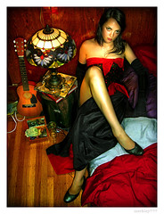 Jade - Bed's Edge (merkley???) Tags: sanfrancisco red portrait fashion photoshop portraits saturated hipsters guitar jade portraiture saturation safe retouched airbrush explorenumber1s chicksset poutyasusual wadofcash