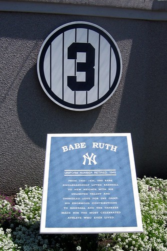Yankee Stadium: Monument Park - Retired Numbers - Babe Ruth #3 ...