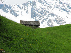Hidden (Walter Quirtmair) Tags: snow mountains salzburg barn digital austria hiking may meadow 2006 swq rauris powershots2is takenbysylvia