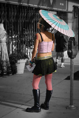 punk parasol (Orrin) Tags: pink woman topf25 girl cutout spiral losangeles lenstagged punk boots tights parasol punkrock eccentric losfeliz topv4444 cheesy striped alternative cheezy 50mmf18 moo1 sheenais