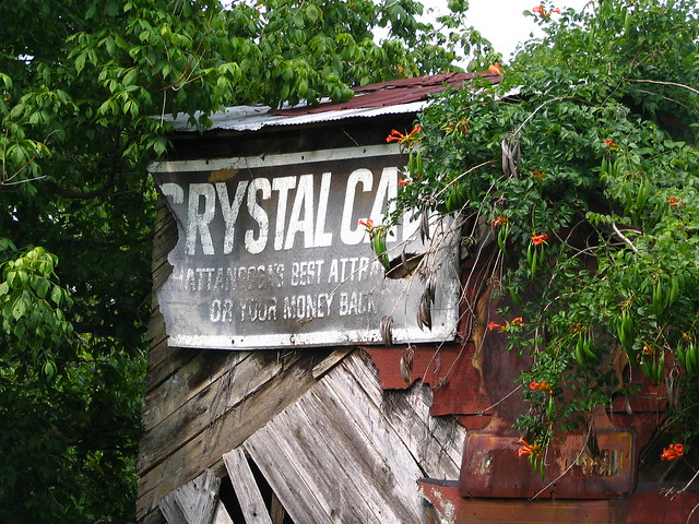 Old Crystal Cave sign