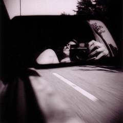 on the road (candace hope) Tags: summer blackandwhite selfportrait 120 reflections holga roadtrip meandmycamera