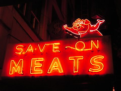 Save-On Meats (SqueakyMarmot) Tags: sign night vancouver store neon saveonmeats vanishing