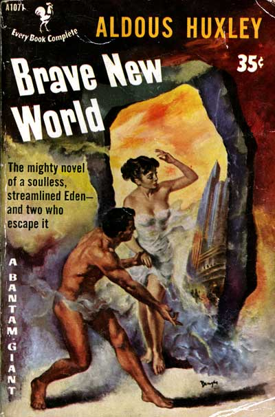 Book cover of brave new world by Aldous Huxley.