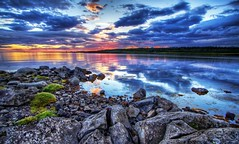 Sunset over Reykjavk ... (asmundur) Tags: sunset reflection iceland bravo reykjavik hdr pf superwideangle fossvogur photomatix specnature nautholsvik stuckmenageriegroup5 lastpicfromjuly2006