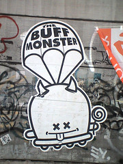 Buff Monster (TRUE 2 DEATH) Tags: streetart japan graffiti tokyo wheatpaste shibuya  nippon  japon nihon parachute pasting buffmonster japn  tky   shibuyaku  graffitiinjapan streetartinjapan tokyograffiti  japangraffiti