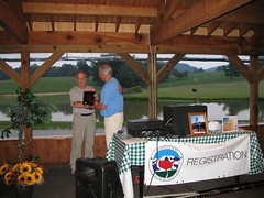 Stony Burk received Vin Hoeman Award from Don Holmes