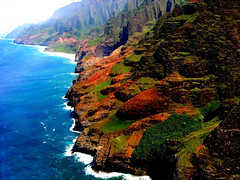 Rhythm of the Ocean (oybay©) Tags: mountain lens hawaii bluewater helicopter kauai top10 volcanicrock locationlocationlocation explorepage mostbeautifulplaceintheworld naapalicoast