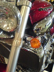 Self Portrait in Chrome (Drunken Monkey) Tags: cameraphone red 3 2004 k750i motorbike chrome triumph motorcycle rocket shiney lose miser cheapskate keep2 keep3 keep4 lose2 lose3 lose4 lose5 2300cc keepforbdd