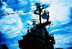 fine ship of war (lomokev) Tags: sky newyork silhouette lomo lca xpro lomography crossprocessed xprocess ship navy lomolca ww2 aircraftcarrier agfa jessops100asaslidefilm agfaprecisa lomograph worldwar2 worldwartwo cruzando ussintrepid precisa intrepidseaairspacemuseum jessopsslidefilm rota:type=showall rota:type=silhouette rota:type=portraits file:name=lomo0806h18 image:usage=raisonpureusa