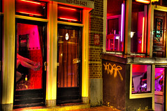 Girls in Red (Stuck in Customs) Tags: light red netherlands girl amsterdam district prostitute prostitution hooker redligh