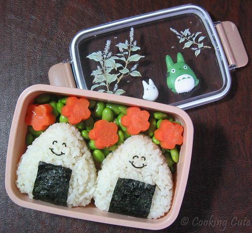 [totoro bento with onigiri, edamame, and sweet potato flowers]