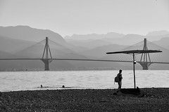 Morning swim (vadimmokin) Tags: bridge sea nature blackwhite nikon greece nikkor blackwhitephotos nikonflickraward nikond610