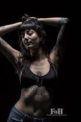 Hellcat (fohphoto@rogers.com) Tags: pierced woman sexy beautiful tattoo female ink canon studio nude skinny persian model slim photoshoot alt bra ribs brunette bangs suicidegirls pinup inked darkhair sternum tatted chestpiece peite
