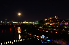 Flashback to this Summer's Blue Moon - and I hope you each have a Happy Weekend! : ) (Roland 22) Tags: light reflection beautiful night boats evening flickr glow walnutstreetbridge bluemoon tennesseeriver warmtones bluffview chattanoogatennessee