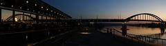 Savamala panorama (stephie...) Tags: street bridge windows sunset panorama reflection river waterfront dusk belgrade sava savamala