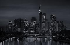 Dark Mainhatten (dominidomk) Tags: reflection building water skyline architecture skyscraper germany long exposure darkness nightshot nacht frankfurt main floss commerzbank hochhaus