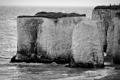 Chalk Stacks. (pstone646) Tags: nature sea waves blackandwhite monochrome kent jossbay seaside shore fence