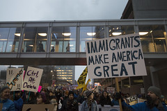 Inauguration day protest against Donald Trump (Fibonacci Blue) Tags: minneapolis mpls protest march trump demonstration event dissent republican outcry activism outrage twincities activist minnesota sign immigrant inauguration president resist resistance gop