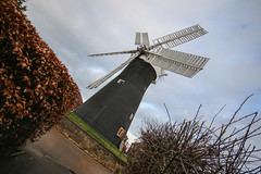 Holgate Windmill, January 2017 - 9 (nican45) Tags: 1020 1020mm 1020mmf456exdc 2017 29january2017 29012017 canon dslr eos70d hwps holgate holgatewindmill january slr sigma york clouds fantail mill roundabout sail sails sky wideangle windmill