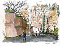 Cuesta del Rey Chico (jfdorado) Tags: alhambra albaicín granada usk urbansketchers andalucia skcetchbook watercolor