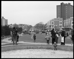 The Protest Arrives (thereisnocat) Tags: pentax pentax67 165mm protest womensmarch womensmarchap asburypark monmouthcounty newjersey nj fp4