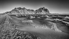 Volcanic Sand patterns at Stokksnes (Nick L) Tags: vestrahorn vesturhorn stokksnes litlahorn causeway blackandwhite bw dawn iceland icelandic canonef1124f4l dunes landscape mountains blacksand
