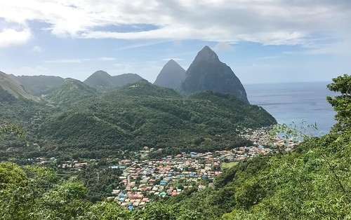 St. Lucia Pitons and town