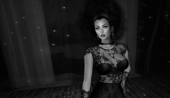 The Black Widow (Charles Parker_) Tags: aliceblizzard charlesparker portraits blackwhite monochrome bw glamour fashion secondlife hairstyle