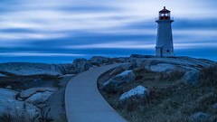 Peggy's Blue with a Twist (carolina_sky) Tags: peggyscove novascotia maritimes canada atlantic lighthouse ocean clouds rocks path curve twist blue longexposure le pentaxk1 pentax2470mm leefilter bigstopper