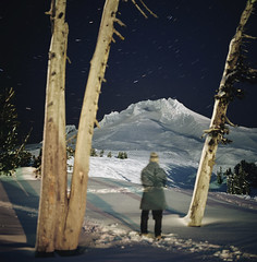 another year (manyfires) Tags: hasselblad hasselblad500cm mediumformat square film analog selfportrait self longexposure mthood timberlinelodge startrails trees mountain pnw pacificnorthwest oregon winter snow landscape portrait