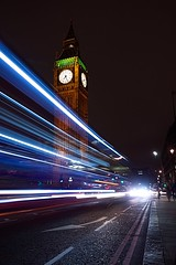7.26 (Explore 01/03/17 #156) (Sarah Marston) Tags: westminster london bigben clock lighttrails traffictrails night longexposure redlines redroute traffic westminsterbridge doubledeckerbus transportforlondon tfl february 2016 sony alpha a65