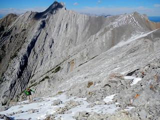 Mt Lorette summit scramble - Ben on the beautiful snow